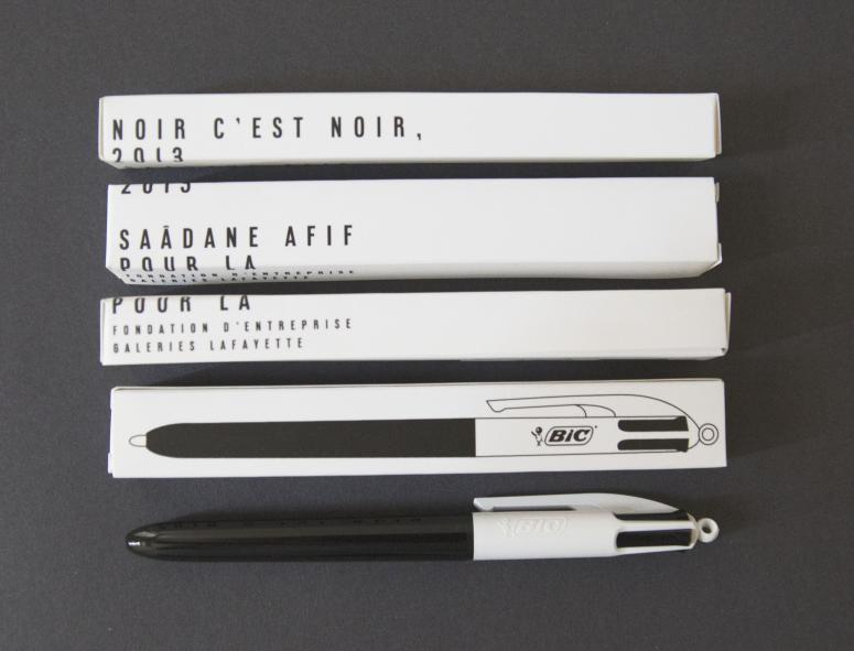 Saâdane Afif, Noir c'est noir, BIC 4 couleurs, Lafayette Anticipations
